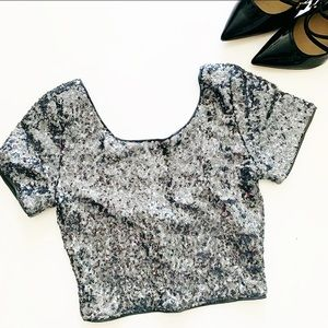 FOREVER 21 Sequined Crop Top